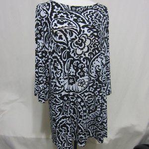 ALFANI WOMAN, SZ 1X, BLK/WHT PRINT DRESS